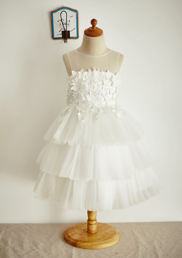 A-line/Princess Knee-Length Illusion Neck Lace/Tulle Flower Girl Dress With Appliqued