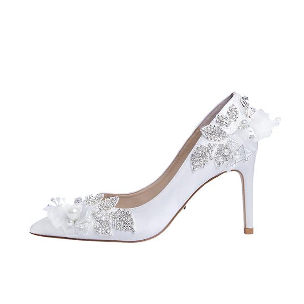 Women's Silk Silk Like Satin With Rhinestone/Imitation Pearl Heels Pumps Wedding Shoes
