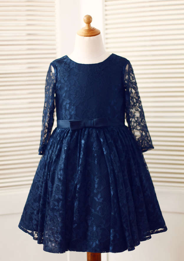 A-line/Princess Knee-Length Scoop Neck 3/4 Sleeve Lace Flower Girl Dress With Bowknot