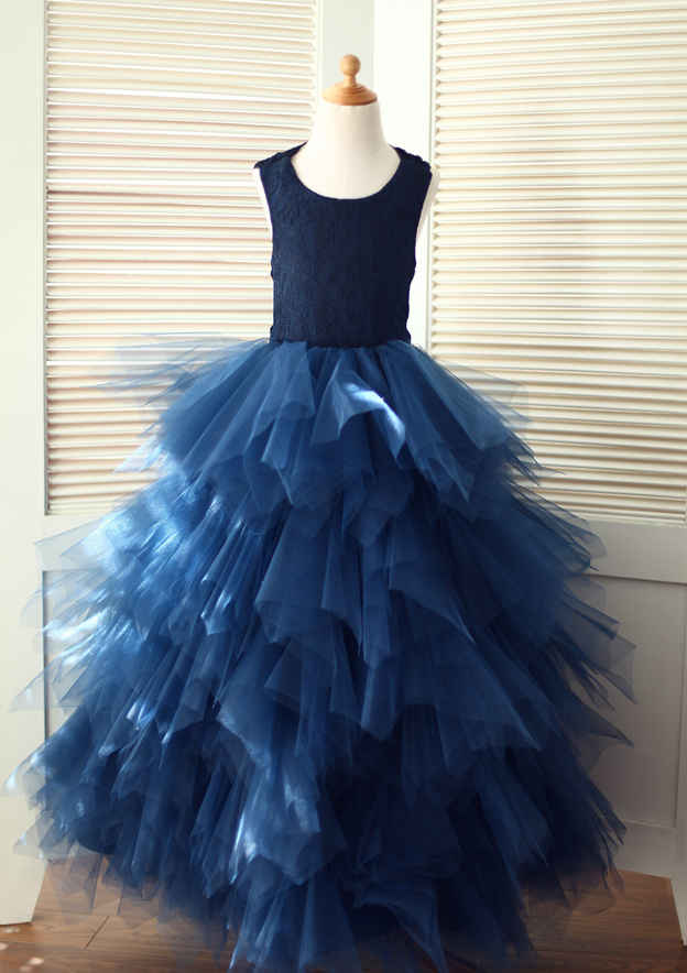 A-line/Princess Asymmetrical Scoop Neck Tulle Flower Girl Dress