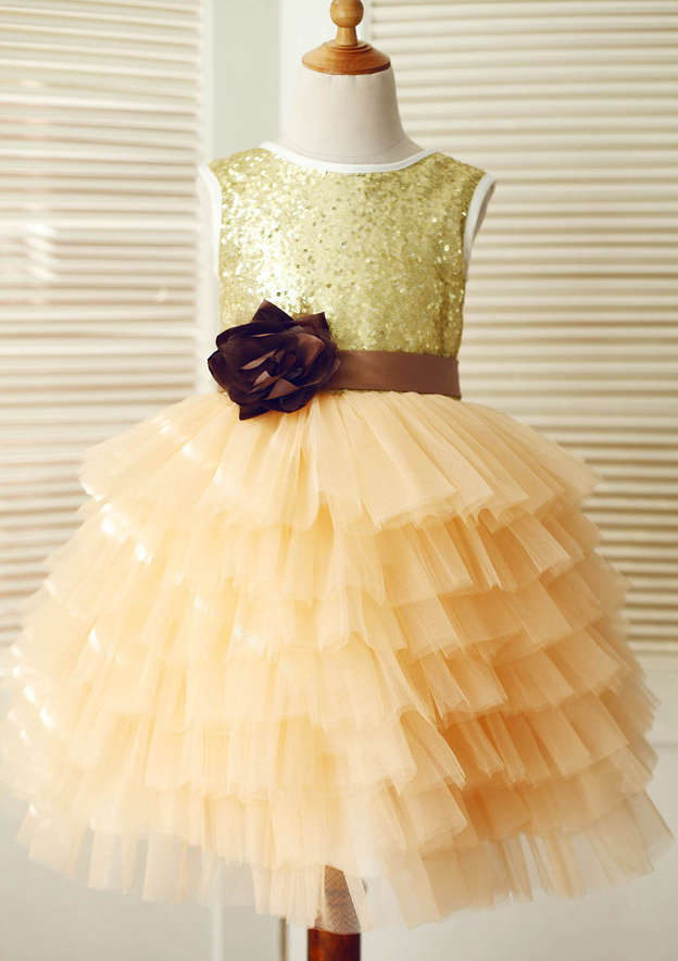 A-line/Princess Asymmetrical Scoop Neck Tulle/Sequined Flower Girl Dress With Sashes