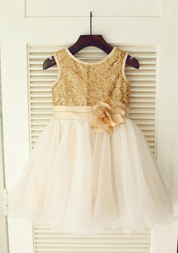A-line/Princess Knee-Length Scoop Neck Regular Straps Tulle/Sequined Flower Girl Dress Flower Girl Dress With Flowers