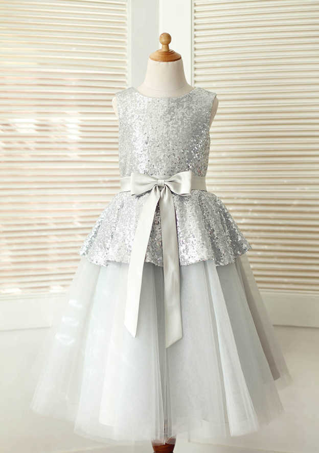 A-line/Princess Knee-Length Scoop Neck Tulle/Sequined Flower Girl Dress With Sashes