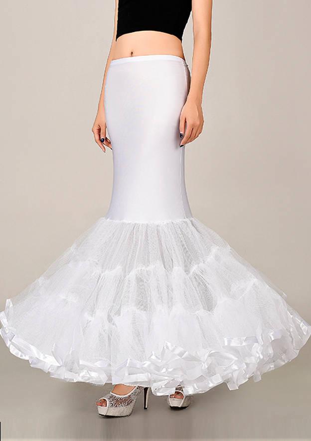 Women Lycra/Nylon/Tulle Netting Long/Floor-length 2 Tiers Bridal Petticoats