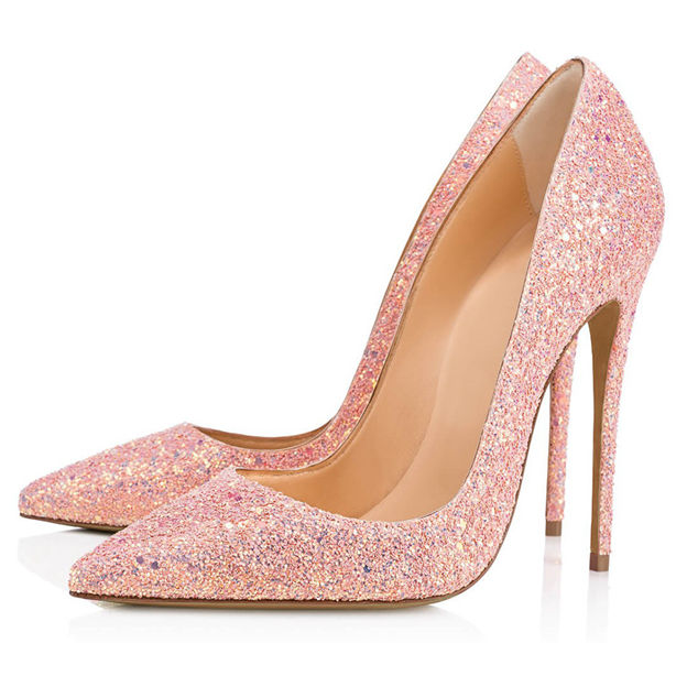 Women's Sparkling Glitter With Sequins Close Toe Heels Fashion Shoes