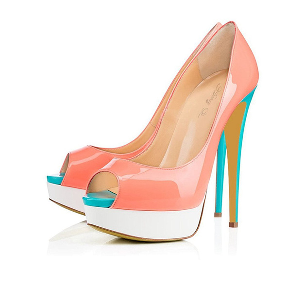 Women's PU Heels Peep Toe Platform Fashion Shoes