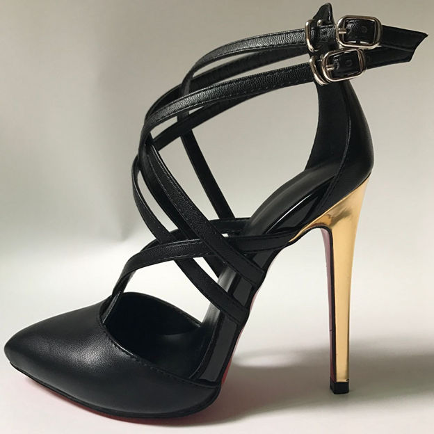 Women's PU With Lace-up/Buckle Close Toe Heels Fashion Shoes