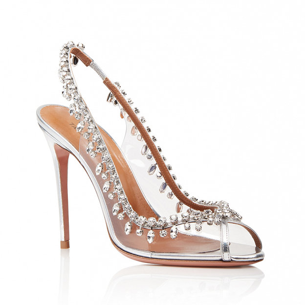 Women's PVC With Rhinestone Heels Peep Toe SlingBacks Fashion Shoes