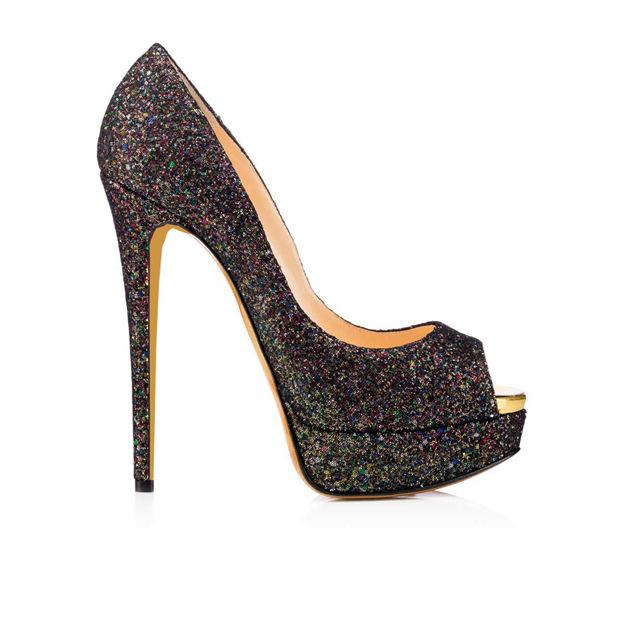 Women's Sparkling Glitter Heels Peep Toe Platform Fashion Shoes