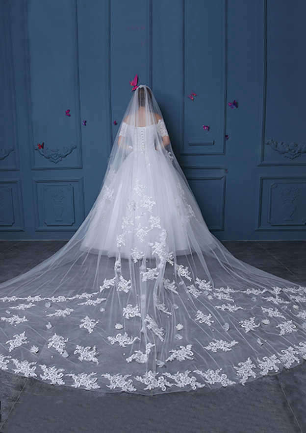 Oval Lace Applique Edge Tulle Cathedral Bridal Veils With Applique/Lace
