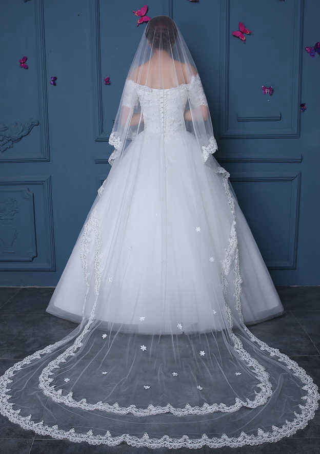 Two-tier Tulle Cathedral Bridal Veils With Lace Sequin Flower