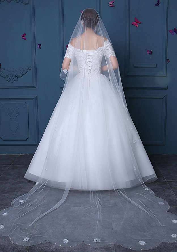 Rectangular Beaded Edge Tulle Cathedral Bridal Veils With Flower