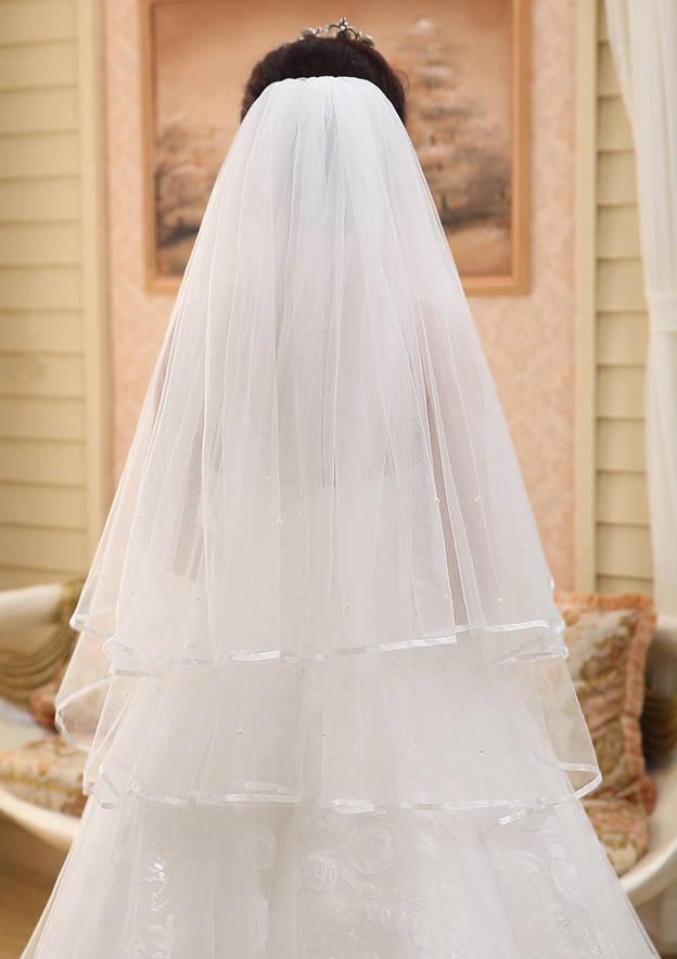 Two-tier Ribbon Edge Tulle Fingertip Bridal Veils