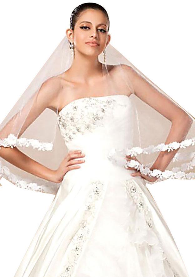 One-tier Lace Applique Edge Tulle Elbow Bridal Veils