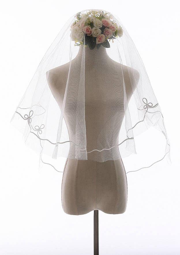 One-tier Ribbon Edge Tulle Elbow Bridal Veils