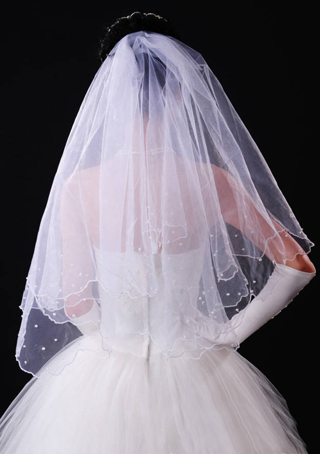 Two-tier Ribbon Edge Tulle Elbow Bridal Veils With Beading