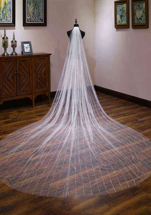 One-tier Tulle Cathedral Bridal Veils With Sparkling Glitter