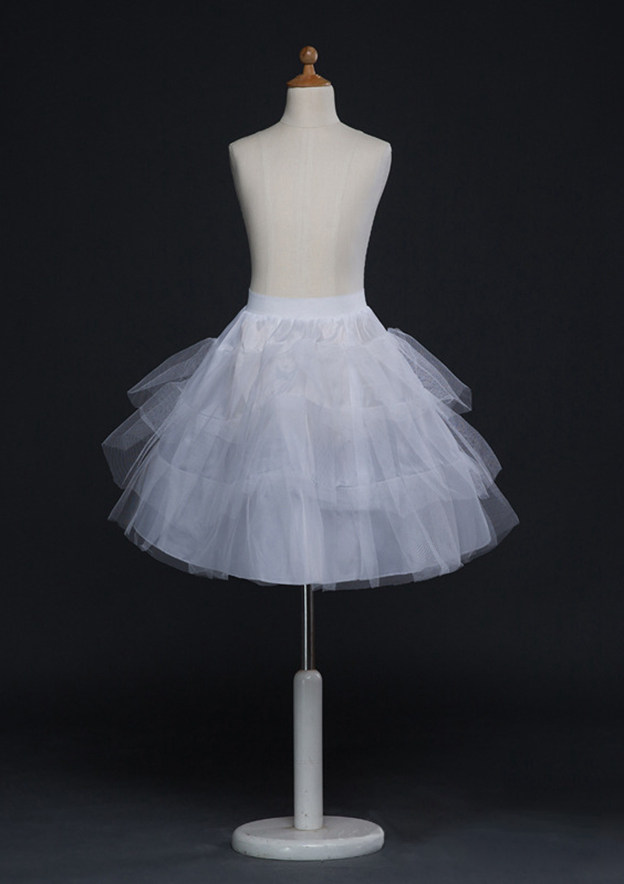 Women Polyester/Tulle Netting Short/Mini 3 Tiers Bridal Petticoats