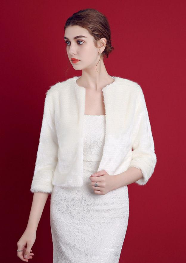 3/4 Sleeve Faux Fur Wedding Jacket