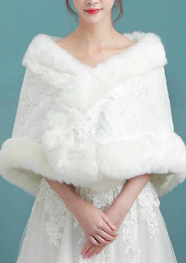 Faux Fur Wedding Wrap With Flower