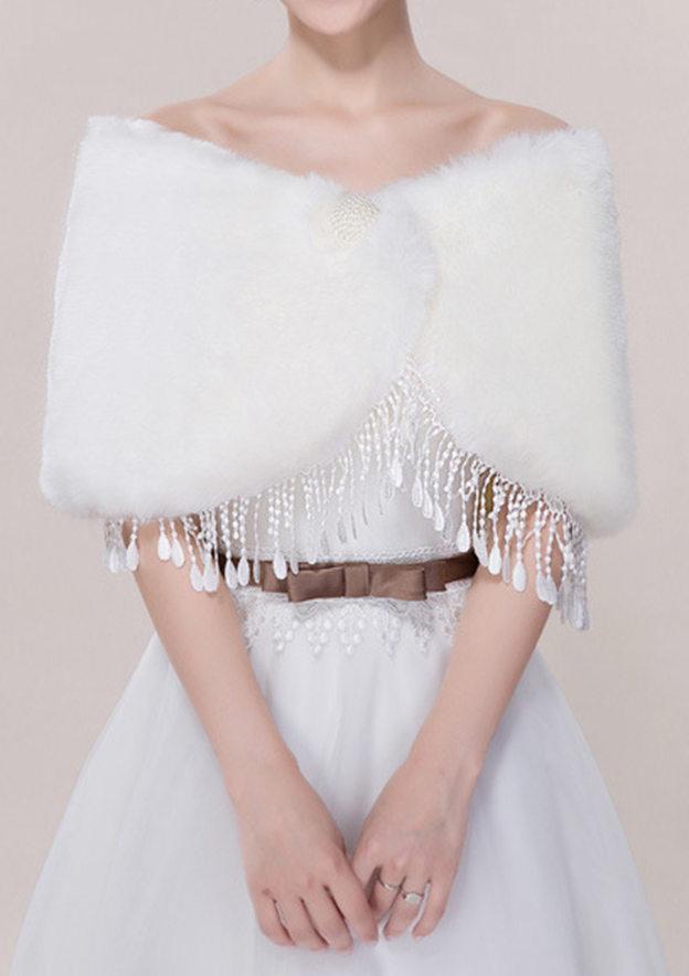 Faux Fur Wedding Wrap With Beading/Tassel