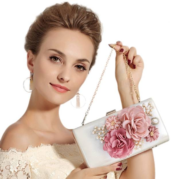 Colorful PU Clutches With Imitation Pearls/Flower