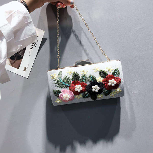Beautiful Polyester Clutches/Evening Bags With Flower