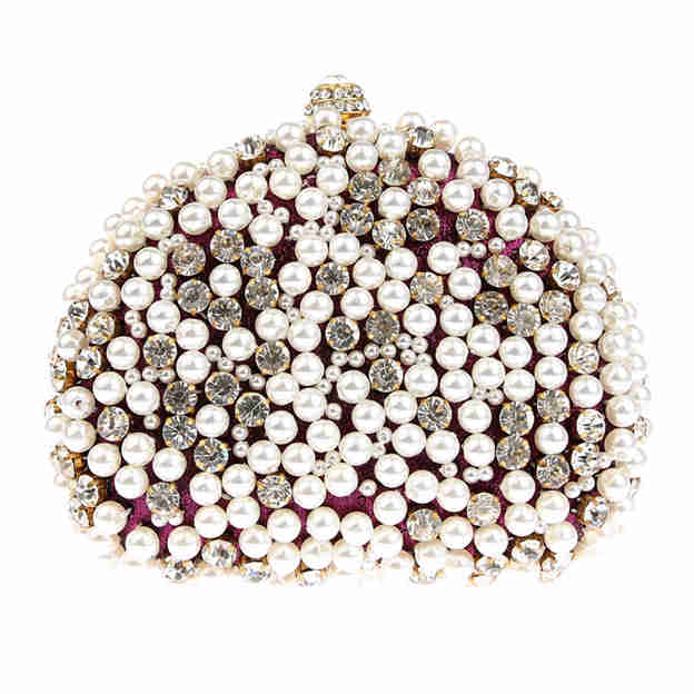 Beautiful Polyester Clutches/Evening Bags With Imitation Pearls/Rhinestone