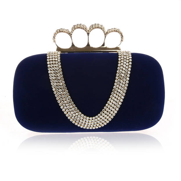 Attractive Suede Clutches/Evening Bags With Rhinestone