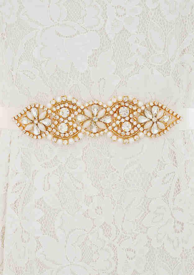 Beautiful Satin Sash With Imitation Pearls/Rhinestones
