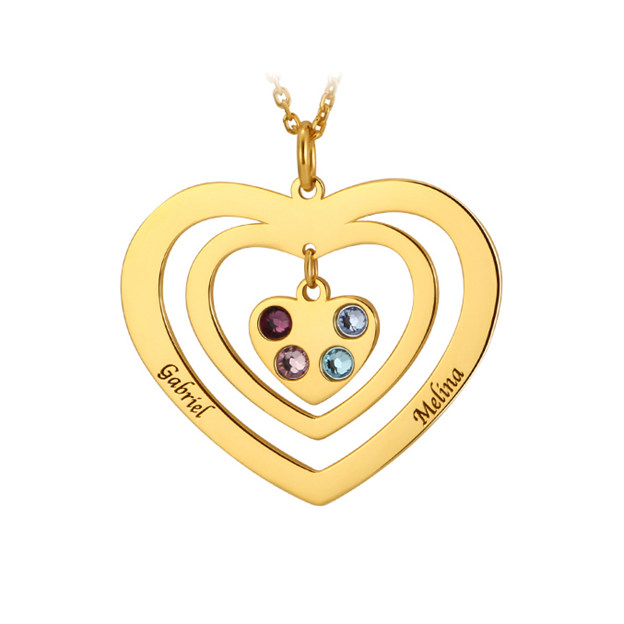 Personalized Customized Name Engraved Birthstone Overlapping Three Heart Necklaces