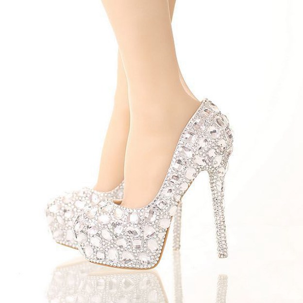 Women's PU With Rhinestone Heels Fashion Shoes