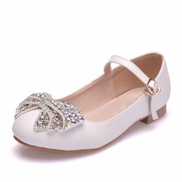 Girl's PU With Rhinestone Flats Shoes