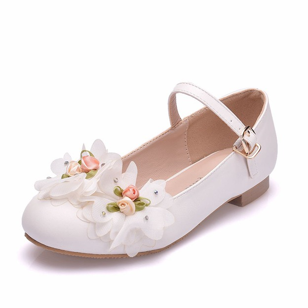 Girl's PU With Flowers Flats Shoes