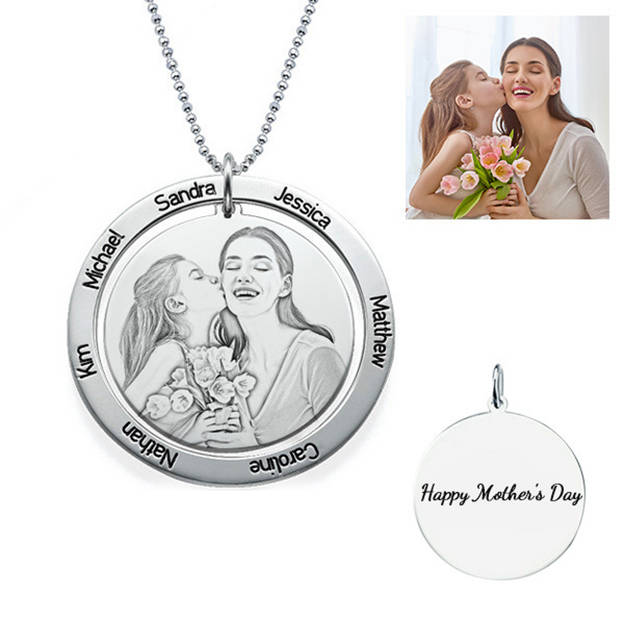 Personalized Customized 925 Sterling Silver Name Engraved Photo Family Circle Necklaces Gift For Family