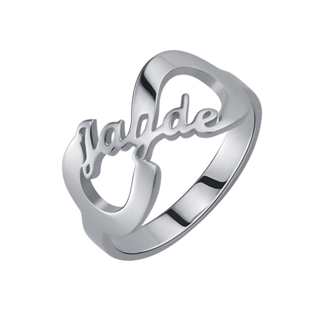 Personalized Customized 925 Sterling Silver One Name Infinity Round Rings