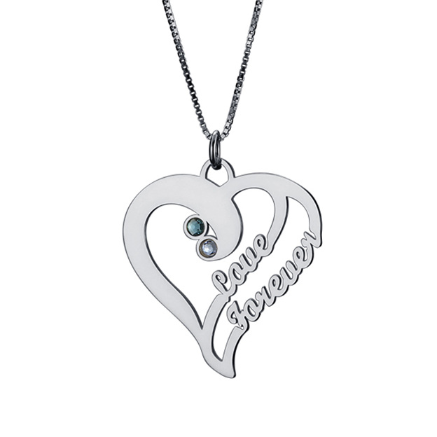 Personalized Customized 925 Sterling Silver Two Name Engraved Birthstone Heart Round Necklaces