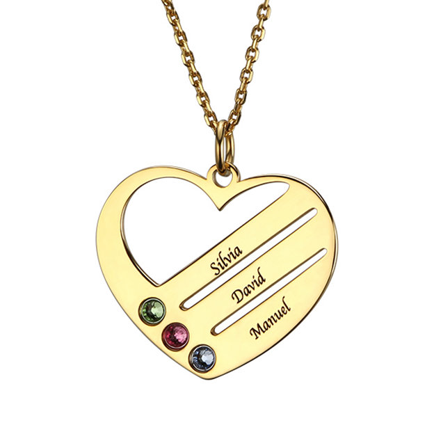 Personalized Customized 925 Sterling Silver Three Name Engraved Birthstone Heart Round Necklaces
