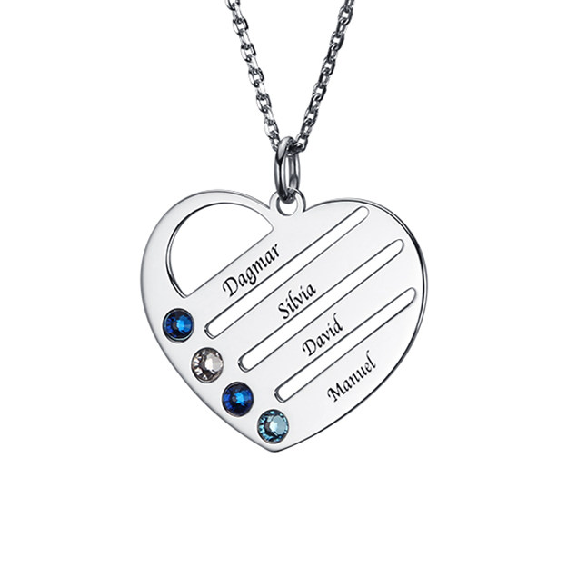 Personalized Customized 925 Sterling Silver Four Name Engraved Birthstone Heart Round Necklaces
