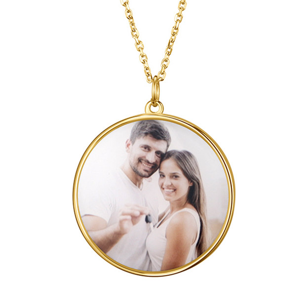 Personalized Customized 925 Sterling Silver One Engraved Photo Circle Necklaces
