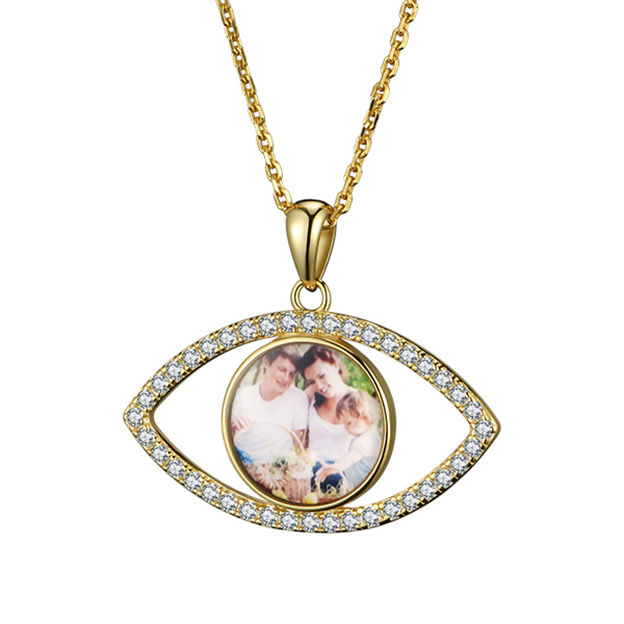 Personalized Customized 925 Sterling Silver Photo Eye Necklaces
