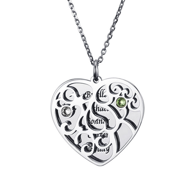 Personalized Customized 925 Sterling Silver Five Name Engraved Birthstone Family Heart Tree Necklaces