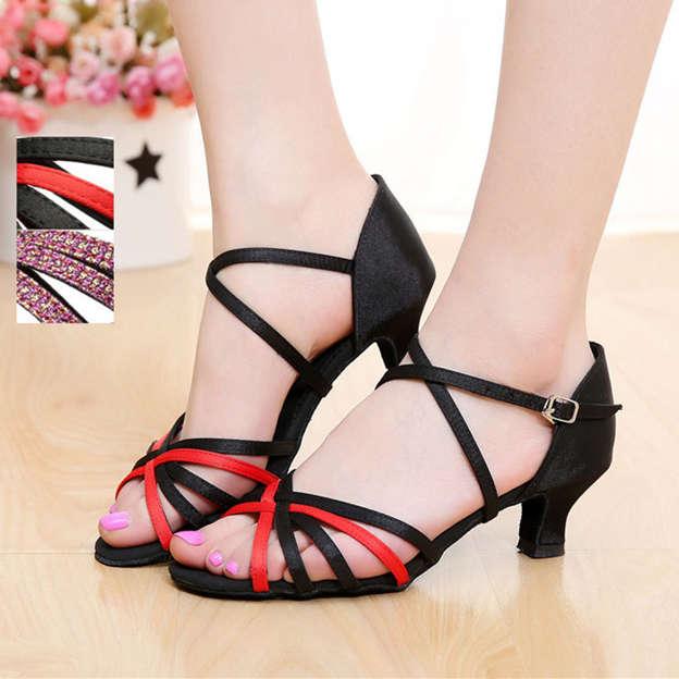 Women's Satin With Buckle Heels/Peep Toe Dance Shoes