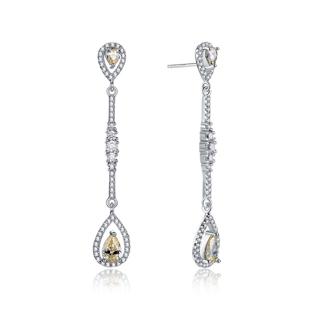 Women's Fashionable 925 Sterling Silver Earrings With Cubic Zirconia For Her