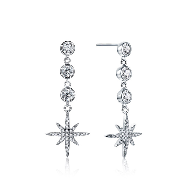 Women's Sparking 925 Sterling Silver Earrings With Cubic Zirconia