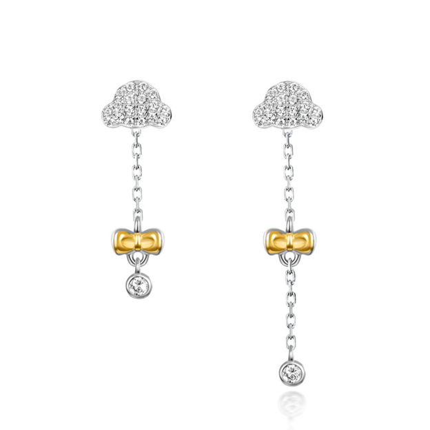 Women's Sweet 925 Sterling Silver Earrings With Cubic Zirconia For Her