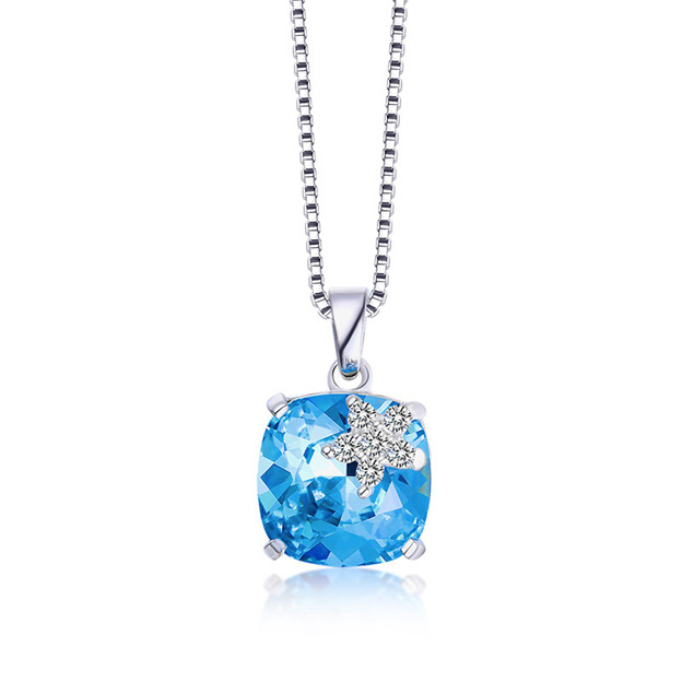 Women's Attractive 925 Sterling Silver Necklaces With Austrian Crystal For Her