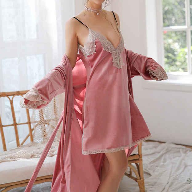 Feminine Sexy Pleuche Lace Split Sleepwear Sets