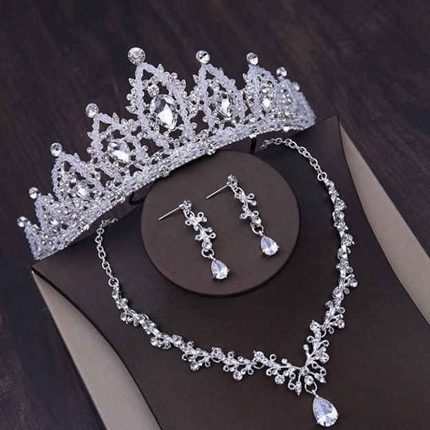 Women's Charming Silver Jewelry Sets With Rhinestone For Bride