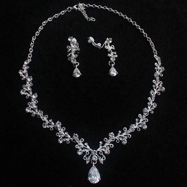 Women's Classic Silver Jewelry Sets With Rhinestone Crystal For Bride